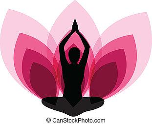 femmina, yoga, su, loto, fondo