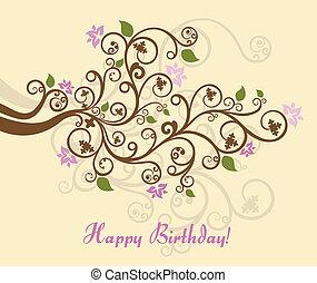 femminile, floreale, buon compleanno, scheda