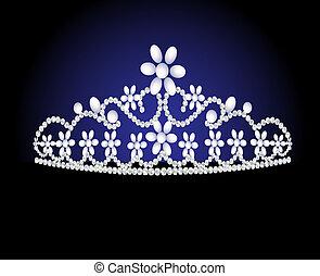 femminile, matrimonio, diadema, perla