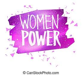 femminista, donne, penna, slogan, feltro, iscrizione, potere