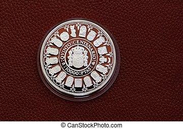 femte, centenary, tio tusen, pesetas, spanien, mynt
