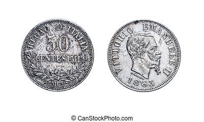 femtio, 50, lire, center, silver, mynt, 1863, vittorio, emanuele, ii, kungarike, av, italien