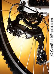 fenék, bicikli, kazetta, képben látható, a, gördít, noha, lánc