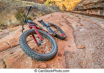 fenék, homokkő, slickrock, kövér, kanyon, bicikli