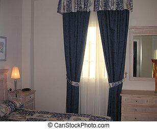 fenêtre, à, rideaux