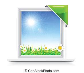 fenêtre, écusson, plastique