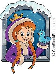 fenêtre, 1, image, hiver, thème, princesse