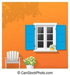 fenêtre, 2, architectural, fond, élément