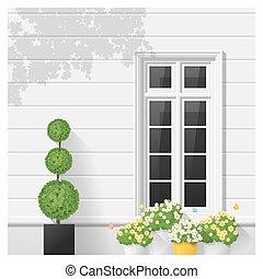 fenêtre, 5, architectural, fond, élément
