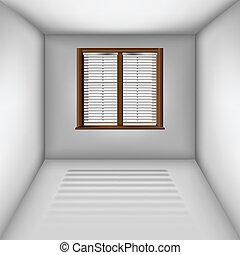 fenêtre, abat-jour, salle, vide