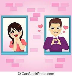 fenêtre, amour, couple