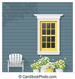 fenêtre, architectural, fond, élément