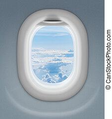 fenêtre, avion, avion, ou