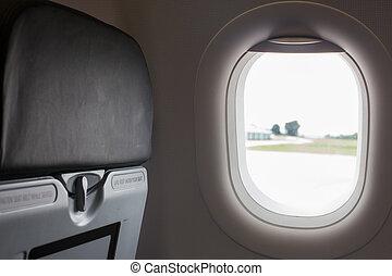 fenêtre., avion