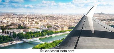 fenêtre, avion, vue