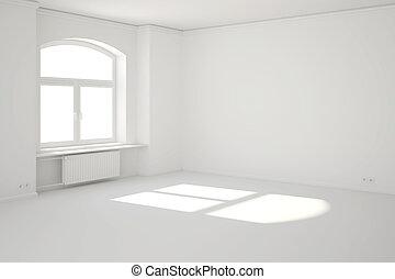 fenêtre, blanc, rayon soleil, salle