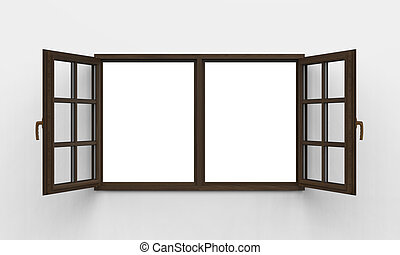 fenêtre, bois, moderne