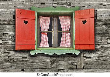 fenêtre, chalet