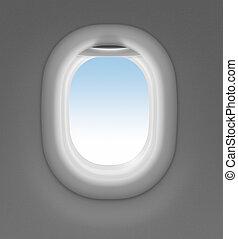 fenêtre, ciel, derrière, jet