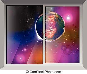 fenêtre, ciel, mars., vue