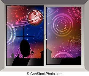 fenêtre, ciel, space., vue