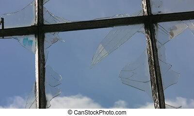fenêtre., clouds., timelapse, cassé