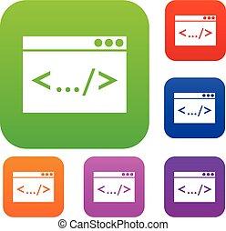 fenêtre, code, ensemble, collection