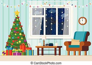 fenêtre, dessin animé, maison, nouveau, cityscape, hiver, plat, confortable, style., neigeux, noël, intérieur, salle de séjour, arbre, décoré, année
