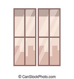 fenêtre, dessin animé, vue