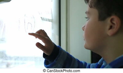fenêtre, enfant, triste, dessin, figure