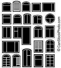 fenêtre, ensemble, silhouette