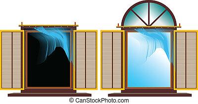 fenêtre, exposé, flottement, brise-b