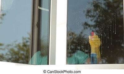 fenêtre, femme, nettoyage