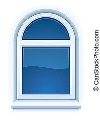 fenêtre, fermé, arqué, rebord fenêtre, plastique