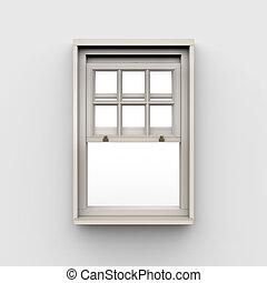 fenêtre, fond blanc, ouvert