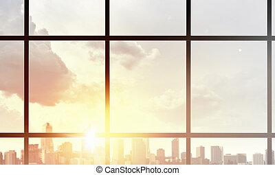 fenêtre, gratte-ciel, vue