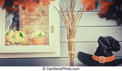 fenêtre, halloween, décoré