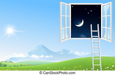 fenêtre, image, concept, ciel nuit, escalier