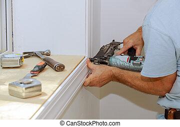 fenêtre, installation, tailler, ouvrier, autour de