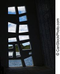 fenêtre, intérieur, les, uss arizona, memor