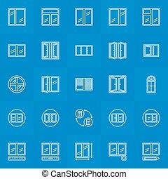 fenêtre, lineat, collection, icônes