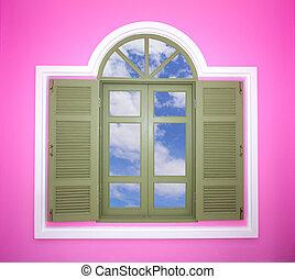 fenêtre, moderne, ciel, miroir