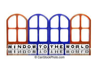 fenêtre monde, à, portes