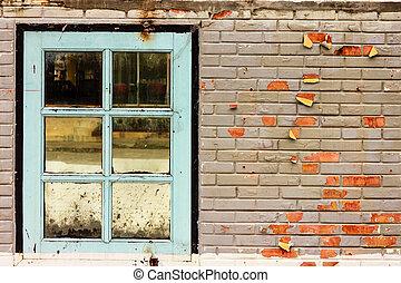 fenêtre, mur, brique