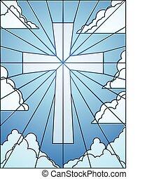fenêtre, nuages, croix