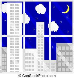 fenêtre, nuit, vue
