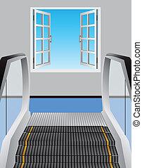 fenêtre, ouvert, escalator
