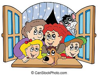 fenêtre, ouvert, famille, heureux