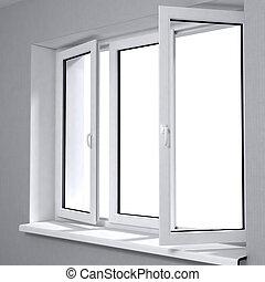 fenêtre, ouvert, plastique