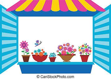 fenêtre, ouvert, pots fleurs